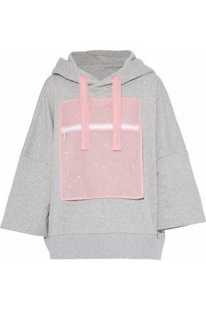 CHRISTOPHER KANE Crystal-embellished tulle-paneled cotton-terry hooded sweatshirt