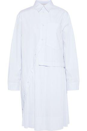 CEDRIC CHARLIER Plissé-paneled cotton-blend poplin shirt dress