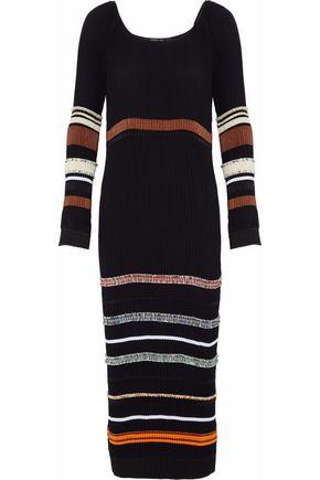 DEREK LAM Metallic striped pleated chiffon midi dress