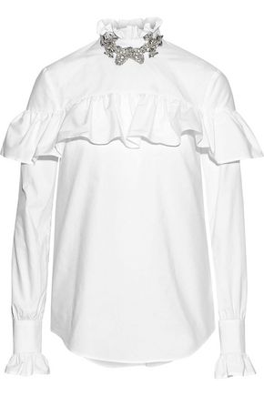 CHRISTOPHER KANE Crystal-embellished ruffle-trimmed cotton-poplin blouse