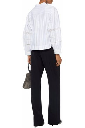 DEREK LAM Lace-trimmed cotton-gauze shirt