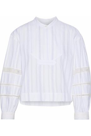 DEREK LAM Lace-trimmed cotton-gauze shirt