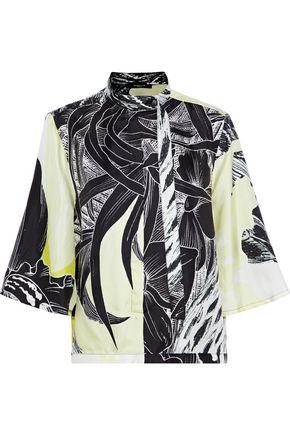 DEREK LAM Printed silk-twill shirt