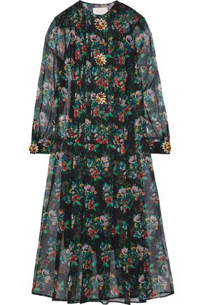 CHRISTOPHER KANE Crystal-embellished floral-print silk-gauze midi dress