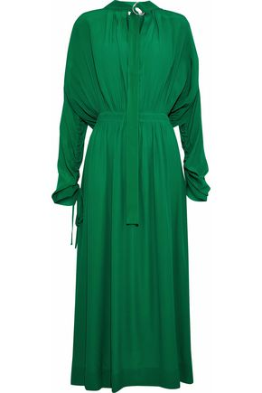 CEDRIC CHARLIER Gathered crepe de chine midi dress