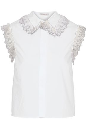 CHRISTOPHER KANE Metallic lace-trimmed cotton-poplin shirt