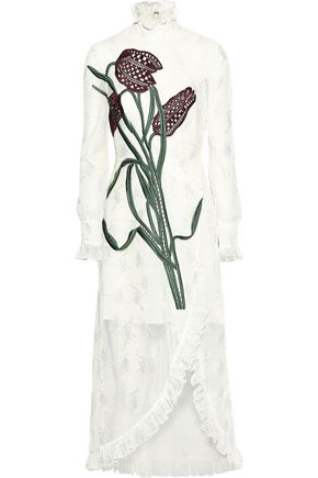 CHRISTOPHER KANE Wrap-effect embroidered tulle midi dress