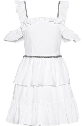 CHRISTOPHER KANE Cold-shoulder ruffled cotton-poplin mini dress