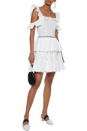 CHRISTOPHER KANE Cold-shoulder ruffled cotton-poplin mini dress
