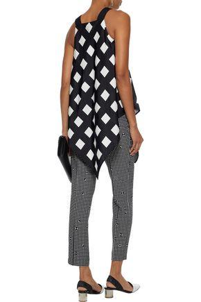 CHRISTOPHER KANE Mackintosh asymmetric checked silk-charmeuse blouse