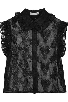 CHRISTOPHER KANE Ruffle-trimmed Chantilly lace shirt