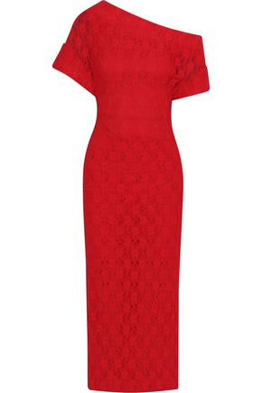 CHRISTOPHER KANE One-shoulder lace midi dress