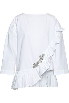 CHRISTOPHER KANE Oversized ruffled embellished cotton-poplin blouse