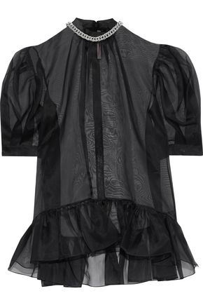 CHRISTOPHER KANE Chain-embellished ruffle-trimmed silk-organza top