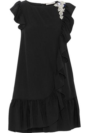 CHRISTOPHER KANE Crystal-embellished ruffled crepe mini dress