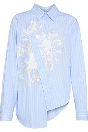 CEDRIC CHARLIER Asymmetric embroidered striped cotton Oxford shirt