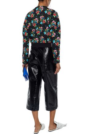 CHRISTOPHER KANE Crystal-embellished floral-print stretch-cotton terry sweatshirt