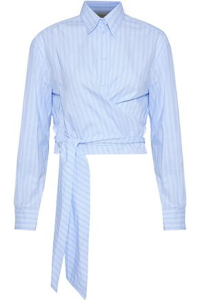 CEDRIC CHARLIER Wrap-effect striped cotton Oxford shirt