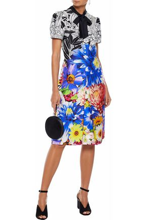 MARY KATRANTZOU Belote pussy-bow floral-print silk-twill dress