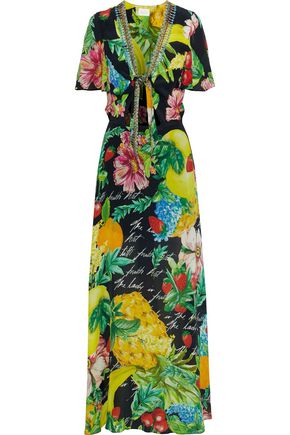 CAMILLA Call Me Carmen embellished knotted printed silk maxi dress