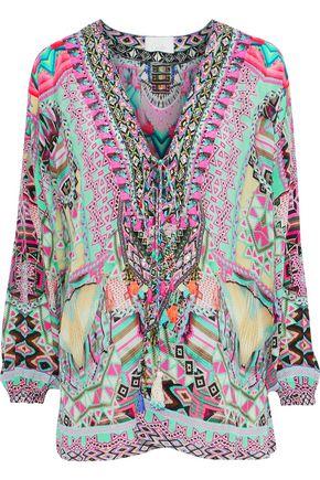 CAMILLA | Camilla Mochilla Embellished Printed Silk Blouse | Goxip
