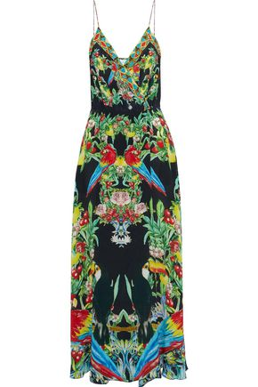 CAMILLA Toucan Play The Front embellished printed silk maxi wrap dress