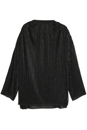 ROSETTA GETTY Oversized metallic ribbed-knit top