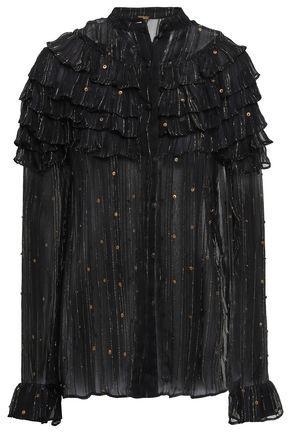 DODO BAR OR Ruffled embellished crepon blouse