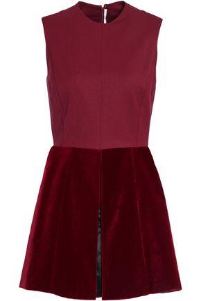 ROSETTA GETTY Paneled velvet and wool-blend twill top