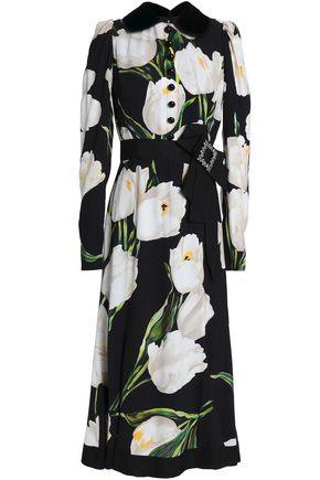 DOLCE & GABBANA Embellished floral-print crepe midi dress