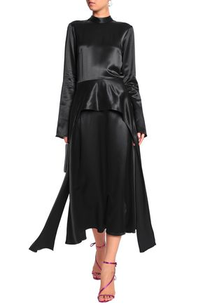 BEAUFILLE Layered satin-crepe midi dress