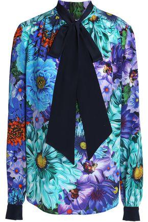 MARY KATRANTZOU Pussy-bow silk crepe de chine blouse
