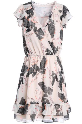 REBECCA MINKOFF Rhoda ruffled printed georgette mini dress