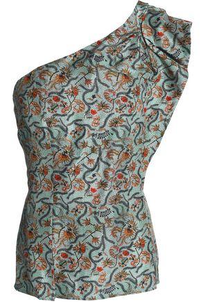 ISABEL MARANT One-shoulder printed silk top