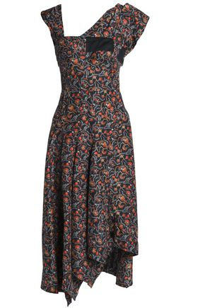 ISABEL MARANT Asymmetric printed silk dress