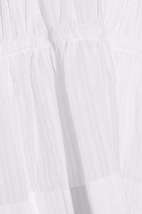 DEREK LAM 10 CROSBY Tiered embroidered cotton-gauze blouse