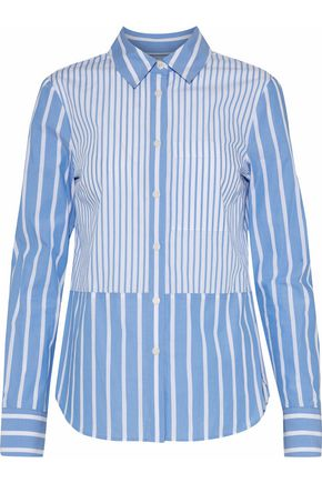 DEREK LAM 10 CROSBY Paneled striped cotton-poplin shirt