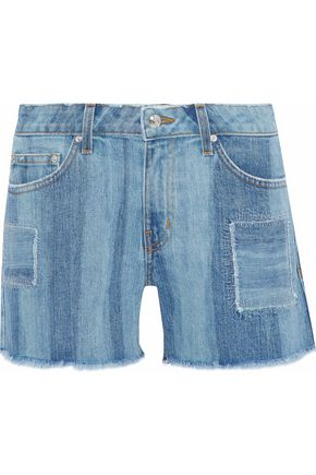 DEREK LAM 10 CROSBY Liv faded patchwork denim shorts