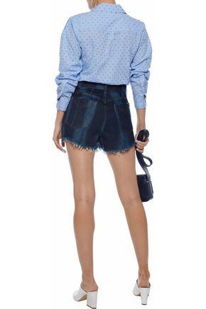 DEREK LAM 10 CROSBY Drew faded frayed denim shorts