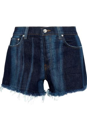 DEREK LAM 10 CROSBY Drew faded frayed denim shorts