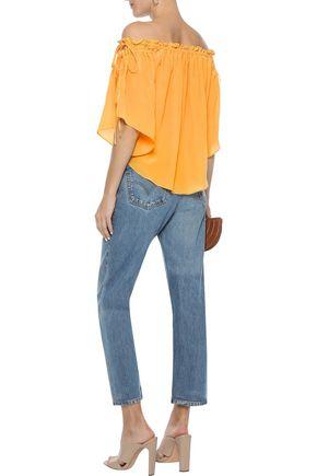 LOVE SAM Off-the-shoulder bow-detailed silk crepe de chine blouse