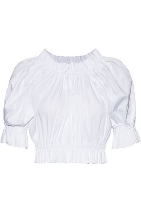 PAPER London Puff cropped gathered stretch-cotton poplin top