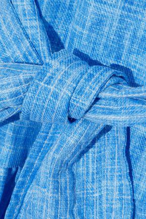 PAPER London Cold-shoulder asymmetric  linen dress