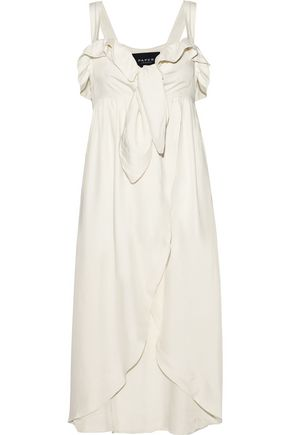 PAPER London Sorbet ruffle-trimmed knotted satin-twill dress