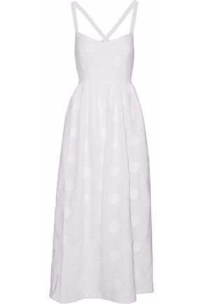 PAPER London Sandstorn embroidered cotton-poplin midi dress