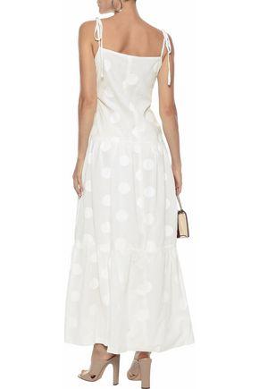 PAPER London Pistache embroidered cotton-poplin maxi dress