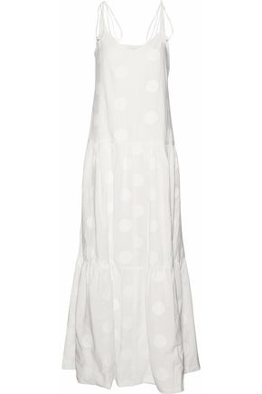 PAPER London Pistache embroidered cotton-poplin maxi dress
