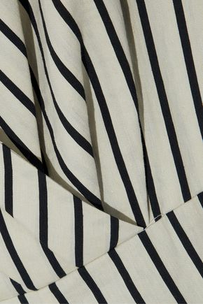 PAPER London Maya wrap-effect striped twill jumpsuit