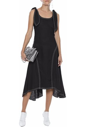 PAPER London Ricki Baker knotted linen midi dress