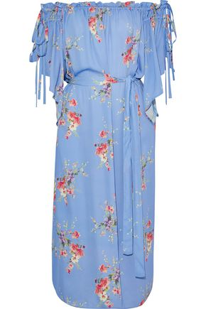 LOVE SAM Off-the-shoulder floral-print crepe de chine midi dress